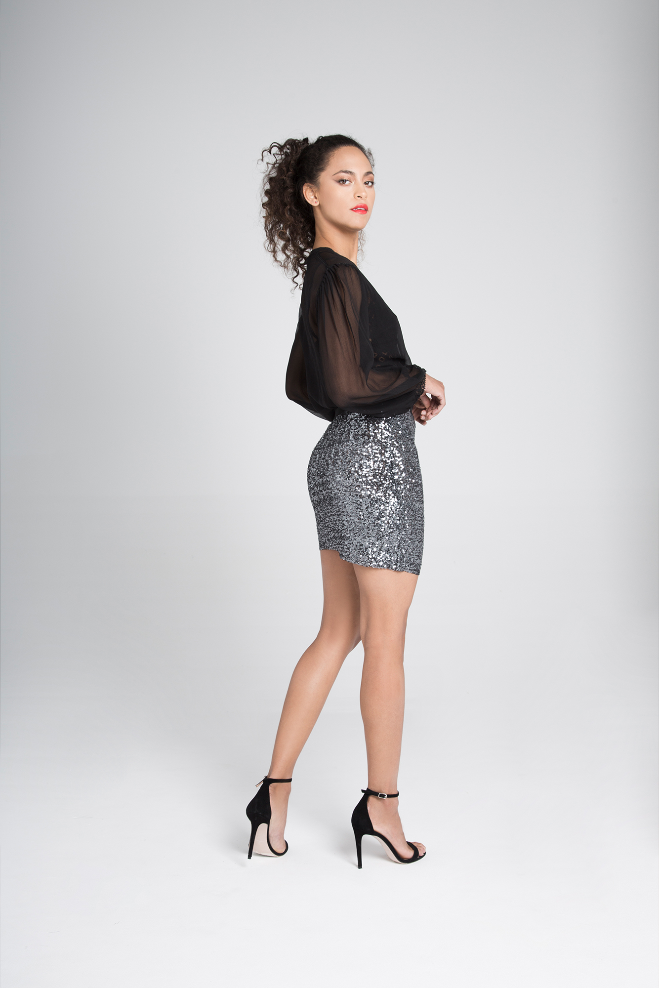 Silver-Grey sequins mini skirt Mire