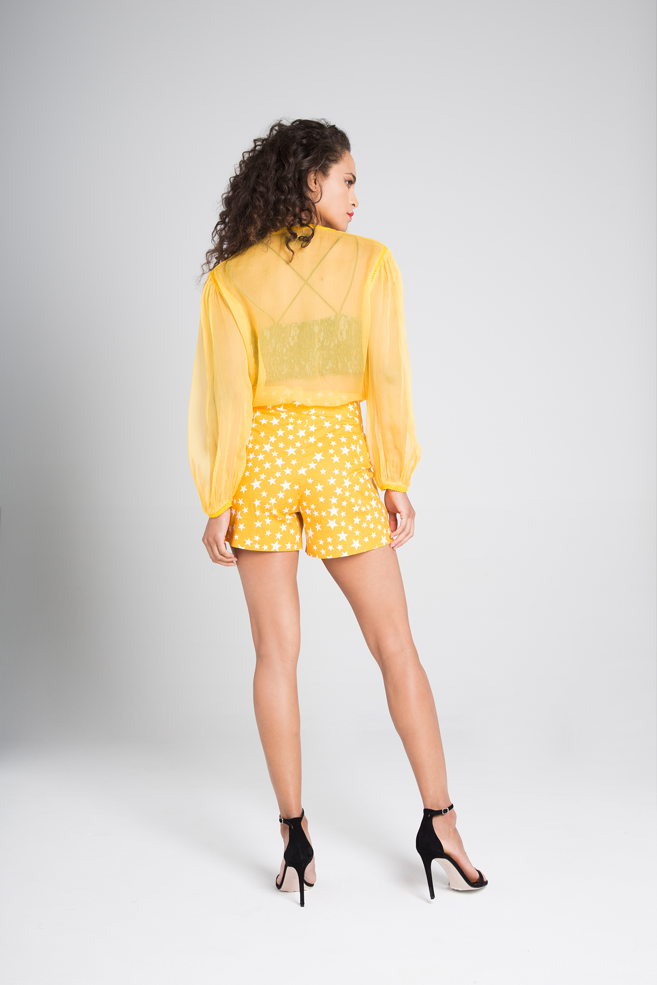 Yellow silk shirt Tora