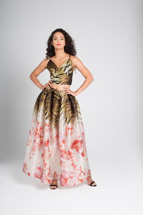 Organza floral-animal print skirt&top Rose